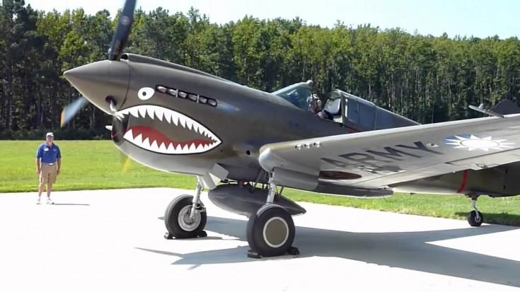 Awesome P 40 Warhawk Start Up + Flight Demo   World War Wings Videos