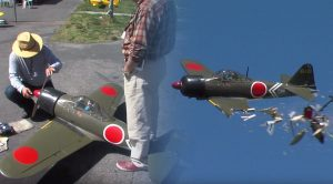 Expensive RC Japanese Zero Collides With RC Chopper- Who Was At Fault Though?