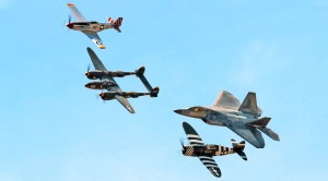 A P-47, P-51s, P-38, F-86 And F-22 Fly Close-Check Out The Raptor's AoA Though