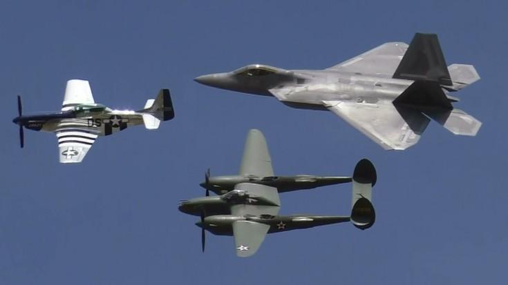 Mustang, Lightning, and Raptor Heritage Flight | World War Wings Videos
