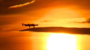Two Lancasters Escorted By A Spitfire And Hurricane: Sunset Footage