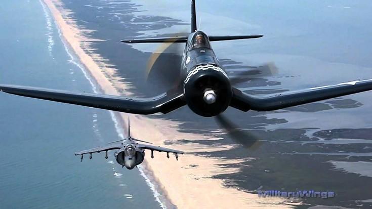 Breathtaking View: F4U Corsair & AV-8B Harrier Side By Side   World War Wings Videos