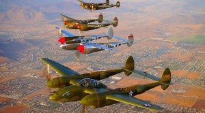 Stormy Skies: 5 P-38 Lightnings Fly In Formation