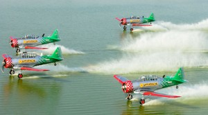 Waterskiing With A Plane: T-6 Team With Steady Hands
