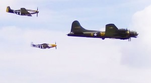 B-17 Flying Fortress Escorted By Her Favorite Team Of P-51 Mustangs