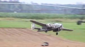 Huge RC B-25 Almost Crashed On Both Approaches, But Then Crashed Anyway