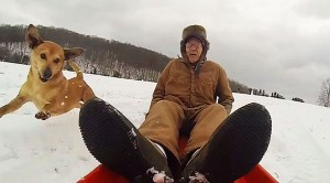 90 Year Young WWII Veteran Hops On A Sled And Gets Pulled By…