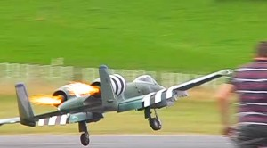 Giant RC A-10 Attempts Landing With Both Engines On Fire