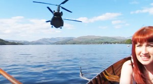 Cute Girl Stunned When Chinooks Buzz Her Out Of Nowhere
