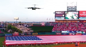 Holy Crap!!! C-17 Flies RIGHT Over Baseball Game- Everyone Goes Crazy