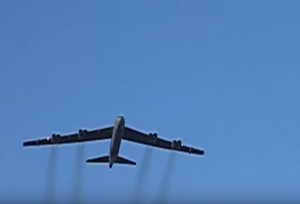 B-52 Bomber Flies Over College Football Game
