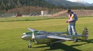 Guy Fires Up His 12 Horsepower RC P-38, But Now He Has To Set Her Down