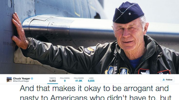 Chuck Yeager, Now 93, Gets Into Scuffle With Some Brits On Twitter | World War Wings Videos