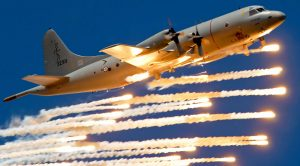 P-3C Orion Anti-Sub Bomber Soaring In The Sunset