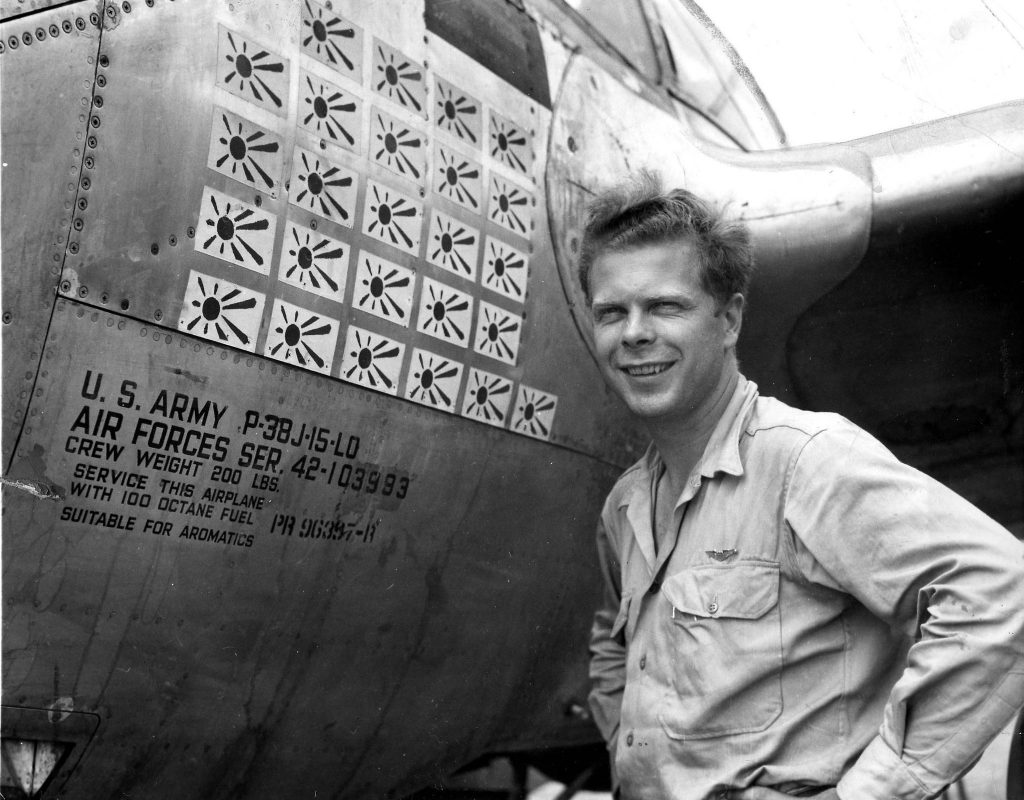 Richard Bong, the World War II fighter ace from Poplar, Wisconsin, was a captain when this photo was taken next to his P-38 fighter in the South Pacific in 1944. At the time, he had 25 Japanese flags flags on the side of his plane to show his score od downed enemy aircraft. Bong went on to down 40 enemy aircraft.