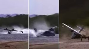 Catalina Pilot Loses Control On Landing-Does A Violent Spinsy-Winsy