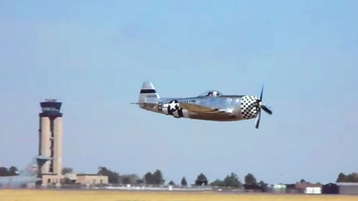 Guy Captures A Nice, Low, Rumbling P-47 Thunderbolt Flyby | World War Wings Videos