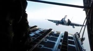 F-18 Tries To Get Inside Of A C-130 Hercules Mid-flight?–Crazy Close