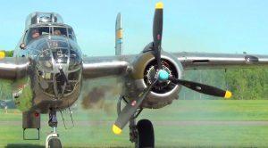 Loud B-25 Mitchell Smokey Engine Startup And Roaring Through The Skies