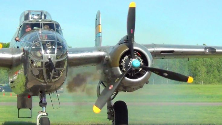 Loud B-25 Mitchell Smokey Engine Startup And Roaring Through The Skies | World War Wings Videos