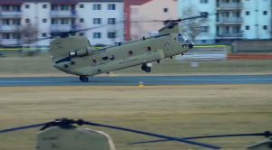 CH-47 Rapidly Dives Into A Crazy Wheelie Landing