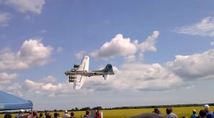 B-17 Does A Nice Bank While Hugging The Ground-This One's Peculiarly Quiet Though