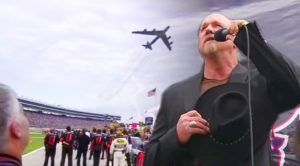 Trace Sings The Anthem At NASCAR With A Bomber Flying In Back-Most American Thing You'll Ever See