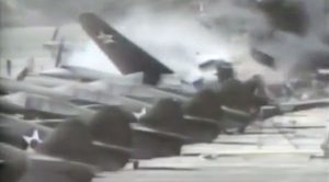 Out Of Control P-40 Crashes Into Rows Of P-40s-Total Destruction