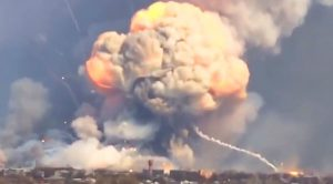 A Single Drone Blows Up A $1 Billion Ammunition Depot – Gigantic Chain Reaction Explosions