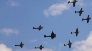 5 Hurricanes And 3 Spitfires Escort The Only Airworthy Bristol Blenheim-Meriln Galore