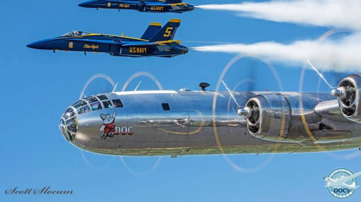 Guy Captures Footage Of B-29 Doc With The Blue Angels-Talk About A Historic Moment | World War Wings Videos