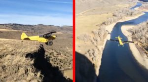 Crazy Cub Pilot Takes Plunge Off Cliff With No Speed-Goes Straight Down