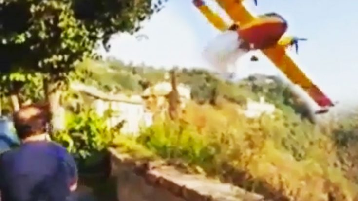 Water Bomber Accidentally Releases Fire Retardant On Village Street | World War Wings Videos