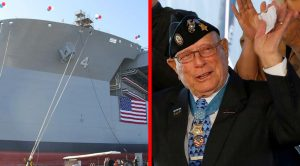 US Navy Christens Gigantic Vessel After 94-Year-Old Medal Of Recipient – A Hero Moved To Tears