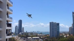 F/A-18 Cuts Between Buildings Buzzing People On Balconies-It's Just Nuts