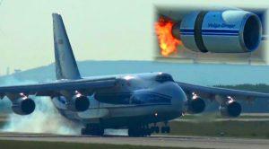 Massive An-124 Engine Bursts Into Flames After Birdstrike