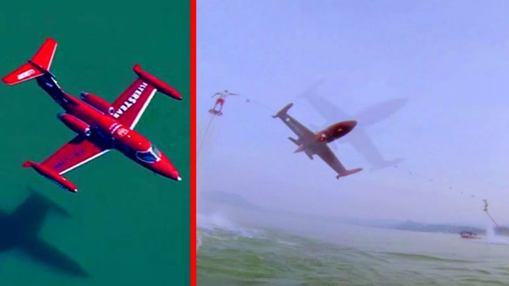 Learjet Pulls Insanely Low Ribbon Cutting Between Two Hoverboards | World War Wings Videos