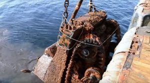 Sunken Ship Filled With WWII Tanks Raised From The Deep After 75 Years