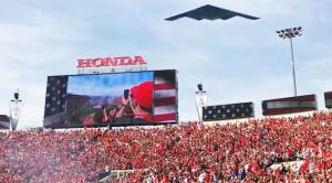 Holy Crap! A Stadium Just Got A Super Low B-2 Flyby And Crowd Went Wild