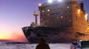 Watching The World's Largest Nuclear Icebreaker Up Close Is Absolutely Terrifying