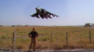 Tough Guy Tries To Withstand A Harrier Blast But Loses His Bet
