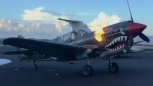 Curtiss P-40 Warhawk With Flames During Startup