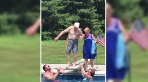 95 Year Old WWII Vet Belly Flops Into Pool
