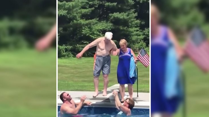 95 Year Old WWII Vet Belly Flops Into Pool | World War Wings Videos