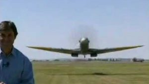 Spitfire Sneaks Up On Reporter- Reaction Is Priceless