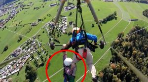 Student Hangs On For Dear Life When Instructor Forgets To Attach Him