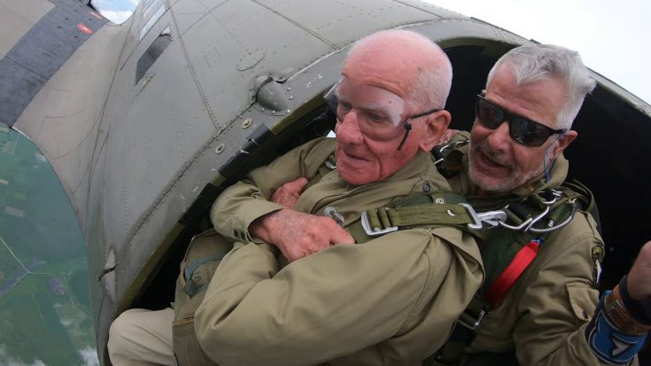 97-year-old WWII Vet Jumps From Plane Again In Omaha Beach for 75th D-Day Anniversary | World War Wings Videos