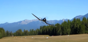 F4U Corsair LOW Pass- Gives Free Haircuts For Everyone